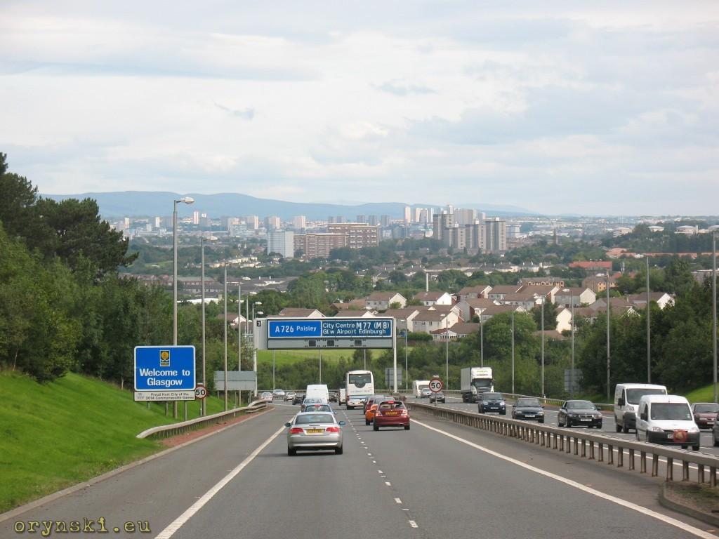 Glasgow widziane z autostrady M77