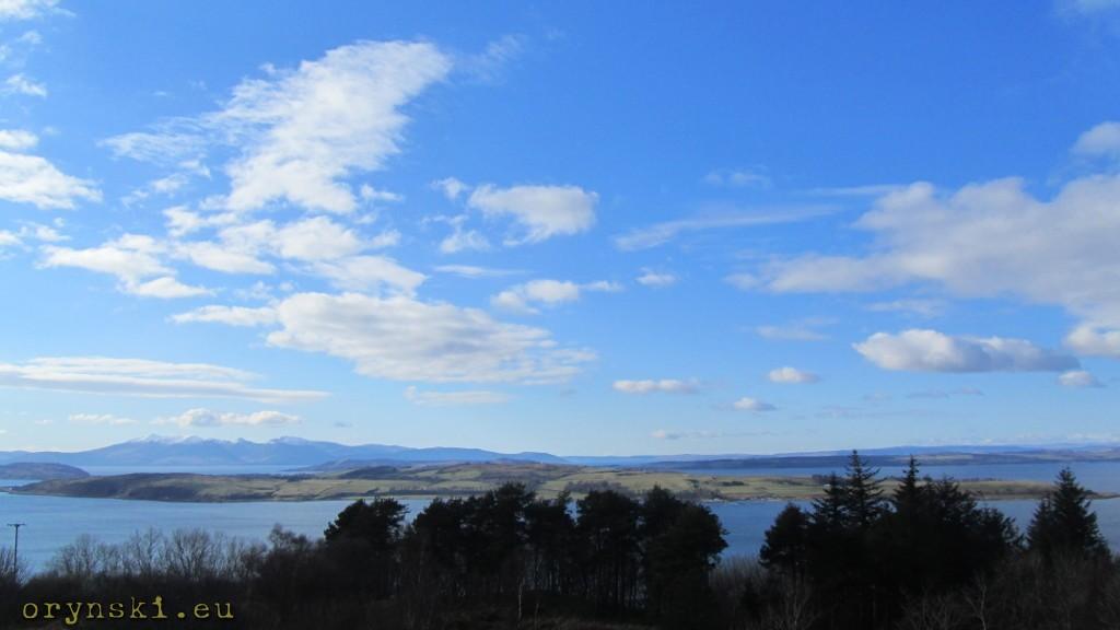 Cumbrae Island widziana z punktu widokowego ponad Largs